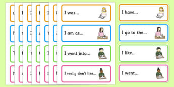 Sentence Starter Cards - Sentence starters, KS1 writing prompts, Begin writing, Compose sentences, Free writing