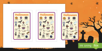 Halloween Topic Words IKEA Tolsby Frame - word mat, key word, topic, witch, ghosts, prompt frame