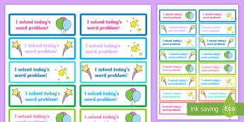 'I Solved the Word Problem' Stickers - maths, rewards, problem solving, solved, praise,Irish