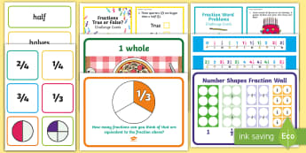 KS1 Fractions Working Wall Display Pack - maths display, classroom display, equivalent, non unit fractions, halves, half, third, thirds, quart