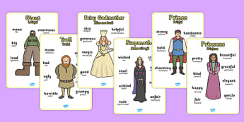 Character Word Posters Romanian Translation - romanian, Characters, story, stories, attributes, features, personality, writing aid, display poster, giant, witch, prince, princess, stepmother