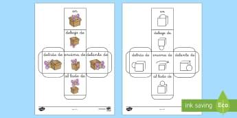 Spanish Prepositions Dice - Spanish, KS2, prepositions, dice,Spanish