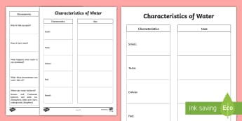 Characteristics of Water Activity - Spring Resources, water, characteristics, uses, experimentation.