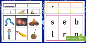 Bonfire Night Initial Sounds Bingo - Fireworks, 5th November, Guy Fawkes, Gunpowder Plot, 5th Nov,Scottish