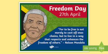 South Africa: Freedom Day 27th April Display Poster - South Africa, Freedom Day, 27th April, Nelson Mandela, Famous Quotes, Freedom
