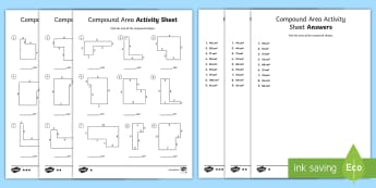 Compound Area Differentiated Activity Sheets - compound area, area, differentiation, measurement, multiplication