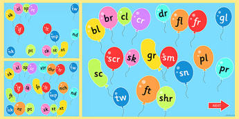 Blends and Clusters on Popping Balloons PowerPoint - blends, clusters, balloons