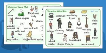 The Victorians Word Mat -  Victorians, Queen Victoria, 19th century, word mat, mat, writing aid, British History, Britain, Victorian toys, Victorian school, butler