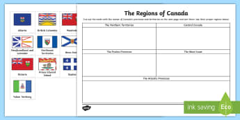The Regions of Canada Sorting Activity Sheet - Earth Day, geography, Canada, Provinces and Territories, Regions, Map, Sorting, Matching, Social Stu