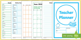 Teacher Planner Academic Year 2017 2018 Resource Pack - planner, calendar, teacher resource, pack, class management, notes