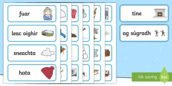 An Geimhreadh Word Cards Gaeilge - ROI - An Geimhreadh, Irish, Gaeilge, winter,Irish
