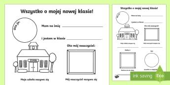 Karta Wszystko o mojej nowej klasie - pierwsze, organizacyjna, wychowawcza, narysuj, portret,Polish
