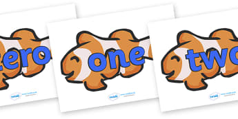 Number Word Cards (0-20 on Clown Fish) - Numeracy, number card, number word, math, number recognition, counting, clown fish, animal