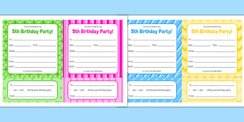 5th Birthday Party Invitations - 5th birthday party, 5th birthday, birthday party,
