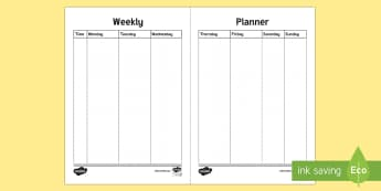 Bullet Journal Weekly Planner Template - Bullet Journal, bujo, diary, journal, borders, colouring, doodles, weekly planner, weekly schedule,