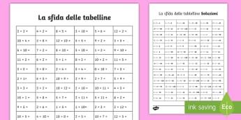 La sfida delle tabelline Attività - matematica, operazioni, tabelline, moltiplicazioni, esercizio, italiano, italian, materiale, scolast