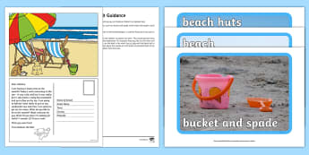 Editable Seaside Postcard and Resource Pack - EYFS, Early Years, Early Years planning, Key Stage 1, KS1, topic starter, topic introduction, Wow ac