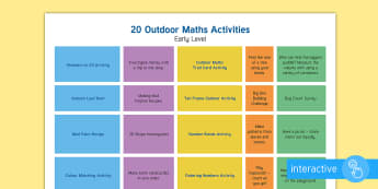 Marvellous Maths Early Level A Week of Outdoor Activities Plan - maths week, Scottish maths, Numeracy, initiative, government,Scottish