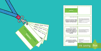 Lanyard Sized Year Two Statistics Objectives Cards - Year 2, year two, maths, reasoning, mathematical vocabulary, statistics, charts, block charts, picto