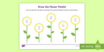 Draw the Flower Petals Counting Activity Sheet - Spring, flowers, counting, math, tracing, drawing flower petal