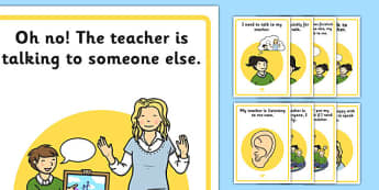 Speaking and Listening Social Situation Posters - speaking, listening, social story, posters, display, social, story