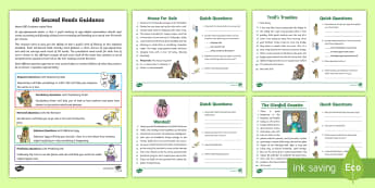 60-Second Reads: Fairy Tales Activity Cards - 90 words a minute, ninety words, reading, guidance, year 2, y2, one minute reading
