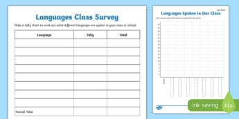 Languages Class Survey Activity Sheet Pack, worksheet