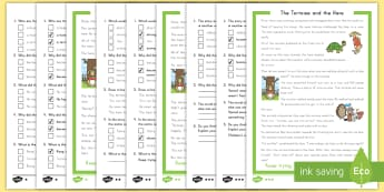 The Tortoise and the Hare Reading Comprehension Differentiated Activity Sheets - fables, Aesop's fables, reading comprehension, differentiated activity sheets, worksheets
