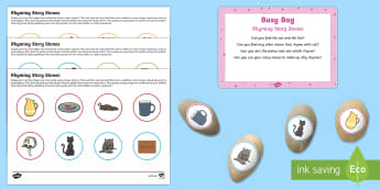 Story Stones Rhyming Busy Bag Prompt Card and Resource Pack - Phase 1, Aspect 4, Rhythm, Rhyme, letters and sounds, phonics, rhymes, story stones