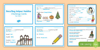 Bocs/Bag Helpwr Heddiw Year 3 and 4 Challenge Cards-Welsh/English, bocs bendigedig