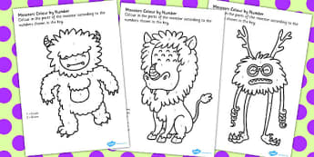 Monster Colour by Number Worksheets - monster, colour, number