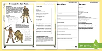 UKS2 Beowulf  Differentiated Reading Comprehension Activity - KS2, comprehension, reading, reading comprehension, reading activity, history, Anglo-Saxons,