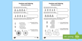 Fractions and Ordering Tenths and Hundredths Activity Sheet English/Romanian - Fractions and Ordering Worksheet Tenths and Hundredths - fractions, ordering, worksheet, tenths, hun