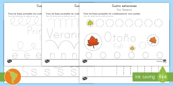 Four Seasons Fine Motor Skills Activity Sheets Spanish (Latin)/US English - Four Seasons Fine Motor Skills Activity Sheets - four seasons, fine motor skills, motorskills, fine