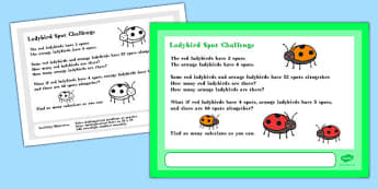 Ladybird Spot Maths Challenge A4 Display Posters - Maths, Spots