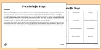 Back To School New Class Friendship Bingo Activity German-English