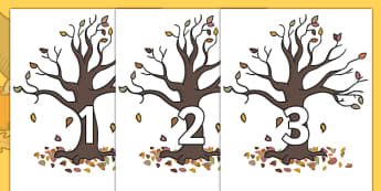 Numbers 0-50 on Autumn Trees - 0-50, foundation stage numeracy, Number recognition, Number flashcards, counting, number frieze, Display numbers, number posters