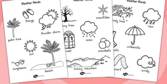 Winter Words Colouring Sheet Temperate - seasons, weather, colour
