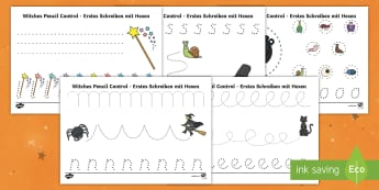 Witches Pencil Control Activity Sheets English/German - EAL, German, Meg and Mog, Helen Nicoll, halloween, witches, room on the broom, winnie the witch, mag