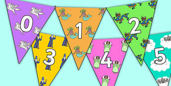 Fantasy Themed 0 31 Bunting - fantasy themed, fantasy bunting, 0-31 on bunting, numberline bunting, fantasy numberline bunting, bunting