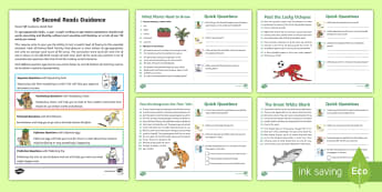60-Second Reads: Animals and Living Things Activity Cards - .90 Words A Minute, Ninety Words, Reading, Guidance, Year 2, Y2, One Minute Reading