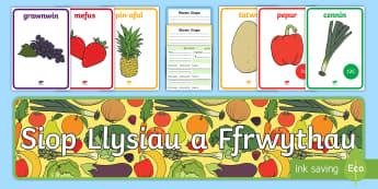 Pecyn Chwarae Rol Siop Ffrwythau a Llysiau - Ffrwythau a llysiau, afal, afocado, banana, mefus, mafon, gellygen, eirin, eirin wlanog, grawnwin, t