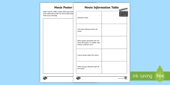 Poster Power Activity - poster, movie, watch, design, literacy, star, characters, film, video