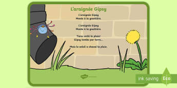 Comptine : L'araignée Gipsy - musique, music, comptine, rhyme, chanson, song, araignée, spider, pluie, rain, cycle 1, EYFS,Austra