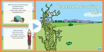 Beanstalk Growing Tall Rhyme PowerPoint - growing, plants, growth, beans, jack and the beanstalk, height, growing, tall