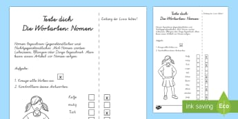 Wortarten: Nomen Test - Sommer, Jahreszeiten, Wortarten, Nomen, Kl.1/2, summer, seasons, parts of speech, nouns, EYFS/KS1,Ge