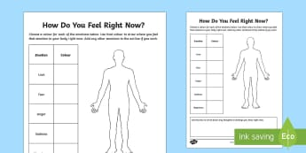 Mindful Me: How Do You Feel Right Now? Activity Sheet - Mindfulness, mindful, feelings, emotions, anger, love, sadness, happiness, fear,