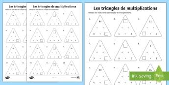 Feuille d'activités : Triangles de multiplications pour tables de 3, 4 et 8 - Mathématiques, Maths, cycle 2, cycle 3, KS2, multiplications, multiplications à trous, triangles,