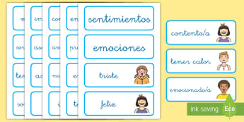 Tarjetas de vocabulario: Las emociones y los sentimientos - emociones, sentimientos, tarjetas, vocabulario, tarjeta, palabras, lengua, NEE, triste, feliz, averg