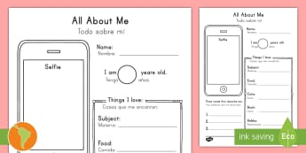 All About Me Selfie Writing Activity Sheet US English/Spanish (Latin) - photo, selfie, mobile, transition, getting to know you, new class, beginning of year, iphone, writti